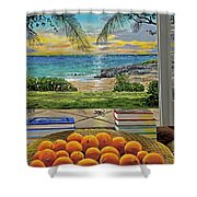 Beach View Shower Curtain by Carey Chen