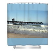 Beach View With Pier 2 Shower Curtain by Ben and Raisa Gertsberg