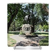 Bear Flag Statue At Sonoma Plaza In Downtown Sonoma California 5D24432 Shower Curtain by Wingsdomain Art and Photography