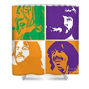 Beatles Vinil Cover Colors Project No.02 Shower Curtain by Caio Caldas