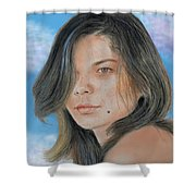 Beautiful And Sexy Actress Jeananne Goossen IIi Altered Version Shower Curtain by Jim Fitzpatrick