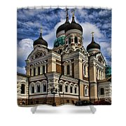 Beautiful Cathedral in Tallinn Estonia Shower Curtain by David Smith