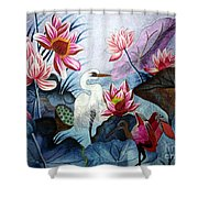 Beauty Of The Lake Hand Embroidery Shower Curtain by To-Tam Gerwe