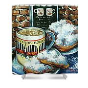 Beignets And Cafe Au Lait Shower Curtain by Dianne Parks