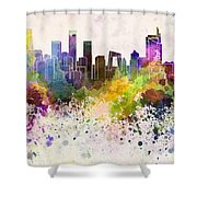 Beijing Skyline In Watercolor Background Shower Curtain by Pablo Romero