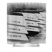 Belmar Marina Rowboats Shower Curtain by Paul Ward