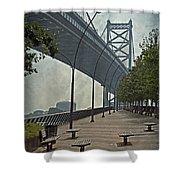 Ben Franklin Bridge And Pier Shower Curtain by Tom Gari Gallery-Three-Photography