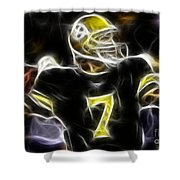 Ben Roethlisberger  - Pittsburg Steelers Shower Curtain by Paul Ward