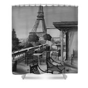 Beneath the Tower  Number 5 Shower Curtain by Diane Strain