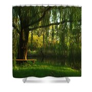 Beneath The Willow Shower Curtain by Lori Deiter