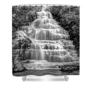 Benton Falls In Black And White Shower Curtain by Debra and Dave Vanderlaan