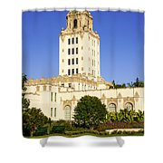 Beverly Hills Police Station Shower Curtain by Paul Velgos