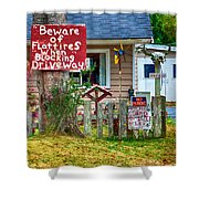 Beware Of Flat Tires Shower Curtain by Trever Miller