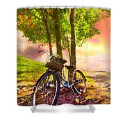 Bicycle Under the Tree Shower Curtain by Debra and Dave Vanderlaan