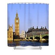 Big Ben and Westminster bridge Shower Curtain by Elena Elisseeva