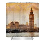 Big Ben at dusk Shower Curtain by Pixel Chimp