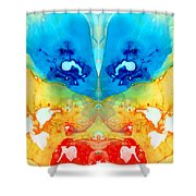 Big Blue Love - Visionary Art By Sharon Cummings Shower Curtain by Sharon Cummings