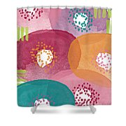 Big Garden Blooms- Abstract Florwer Art Shower Curtain by Linda Woods