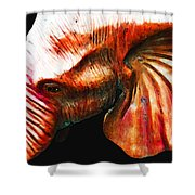 Big Red - Elephant Art Painting Shower Curtain by Sharon Cummings