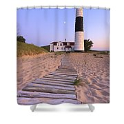 Big Sable Point Lighthouse Shower Curtain by Adam Romanowicz