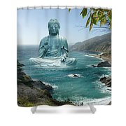 Big Sur Tea Garden Buddha Shower Curtain by Alixandra Mullins