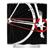 Bike In Black White And Red No 2 Shower Curtain by Ben and Raisa Gertsberg