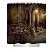Bike - Ny - Greenwich Village - In The Village  Shower Curtain by Mike Savad