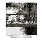 Bikes over Waller Creek Shower Curtain by Kristina Deane