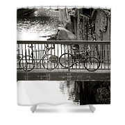 Bikes Over Waller Creek Shower Curtain by Kristina Deane