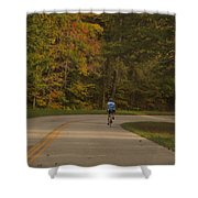 Biking In The Smoky Mountains Shower Curtain by Dan Sproul