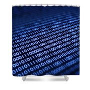 Binary Code On Pixellated Screen Shower Curtain by Johan Swanepoel