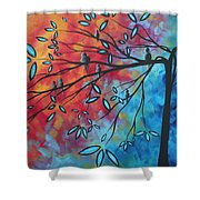 Birds And Blossoms By Madart Shower Curtain by Megan Duncanson