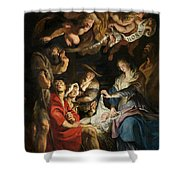 Birth Of Christ Adoration Of The Shepherds Shower Curtain by Peter Paul Rubens