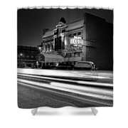 Black And White Light Painting Old City Prime Shower Curtain by Dan Sproul