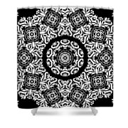 Black And White Medallion 10 Shower Curtain by Angelina Vick