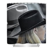 Black Hat Blond Hair Shower Curtain by Joan Carroll
