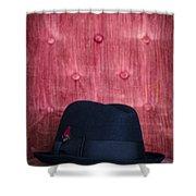 Black Hat On Red Velvet Chair Shower Curtain by Edward Fielding