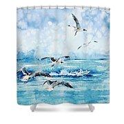 Black-headed Seagulls At Seven Seas Beach Shower Curtain by Zaira Dzhaubaeva