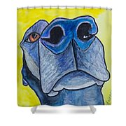 Black Lab Nose Shower Curtain by Roger Wedegis