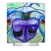 Black Lab Shower Curtain by Roger Wedegis