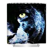 Black Panther Art - After Midnight Shower Curtain by Sharon Cummings