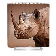 Black Rhinoceros Portrait Shower Curtain by Johan Swanepoel