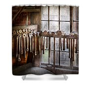 Black Smith - Draw plates and hammers  Shower Curtain by Mike Savad