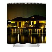 Black Starry Night In Tropics 3 Shower Curtain by Jenny Rainbow