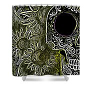 Black Sunflower Skull Shower Curtain by Lovejoy Creations