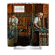Blacksmith And Apprentice Impasto Shower Curtain by Steve Harrington