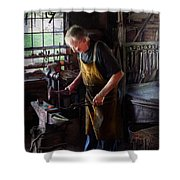 Blacksmith - Starting With A Bang  Shower Curtain by Mike Savad