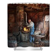 Blacksmith - The Importance Of The Blacksmith Shower Curtain by Mike Savad