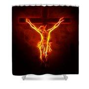 Blazing Jesus Crucifixion Shower Curtain by Pamela Johnson