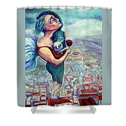 BLESSING OVER THE WINE Shower Curtain by Elisheva Nesis